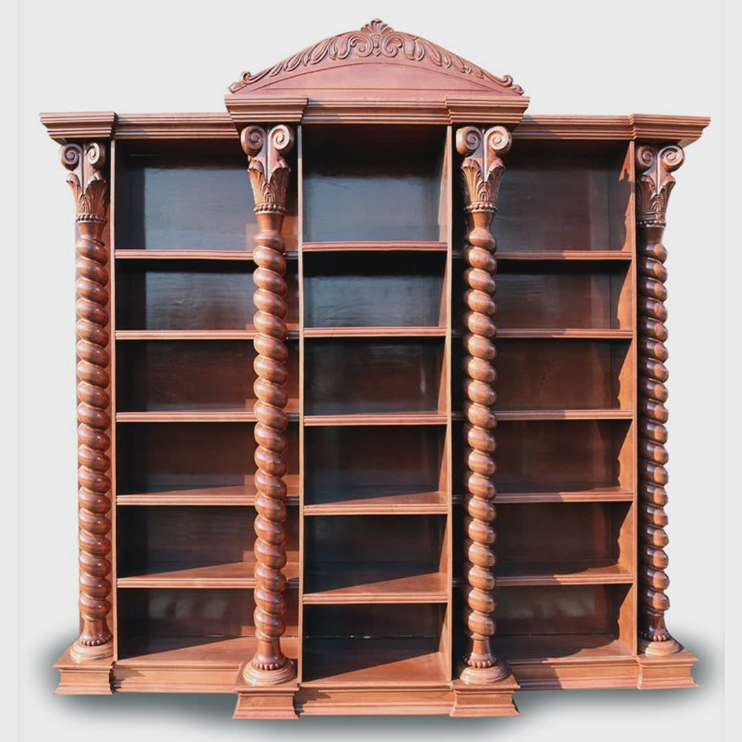 Solid Wood Bookcase with spiral columns